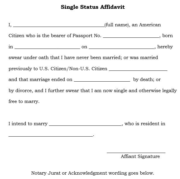 Single Status Affidavit in Kerala