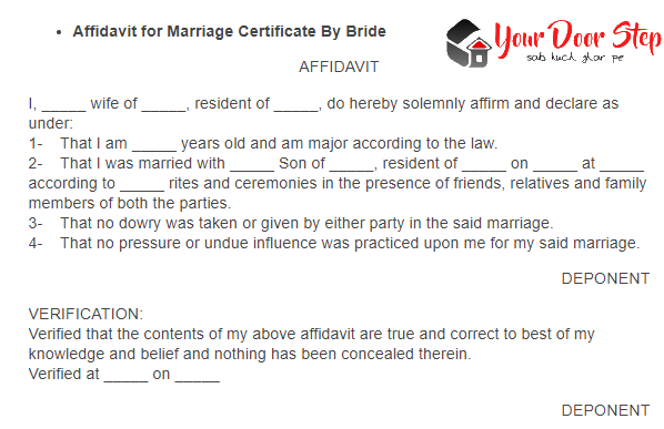 marriage affidavit for bride